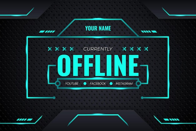 Offline streaming futuristic gaming background with green gradient and lighting