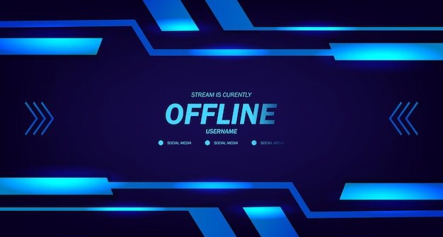 Offline streaming gaming live video template with dark neon glow frame technology cyber display for esport trendy
