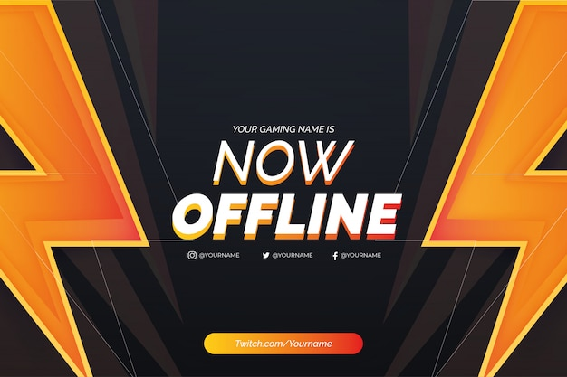 Offline twitch background background with realistic lightning template