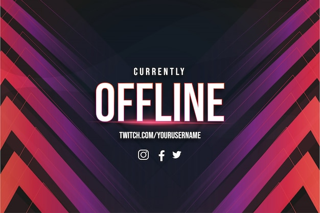 Offline twitch background with abstract shapes template