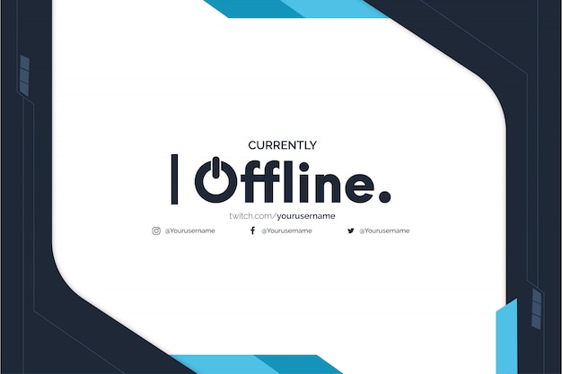 Offline twitch banner background with abstract blue shapes template