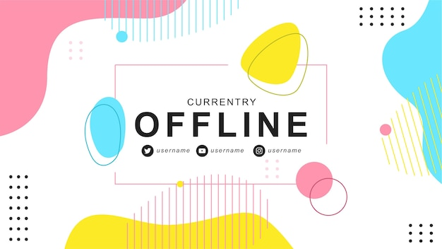 Offline twitch баннер в стиле elments memphis