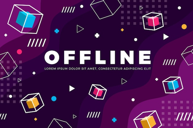 Offline twitch banner in memphis concept
