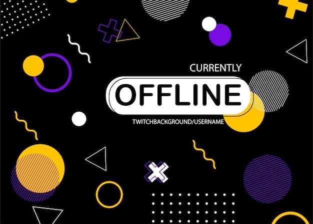 Offline twitch banner in memphis design free vector