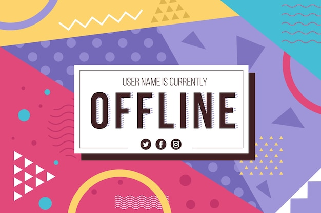 Offline twitch banner in memphis style | Free Vector