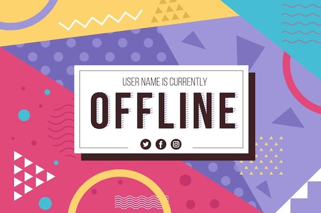 Banner twitch offline nel design di memphis