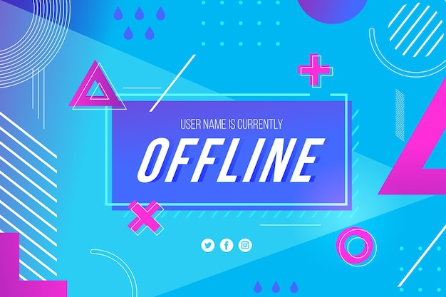 Offline twitch banner in memphis theme