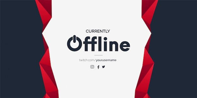 Offline twitch banner template with abstract shapes