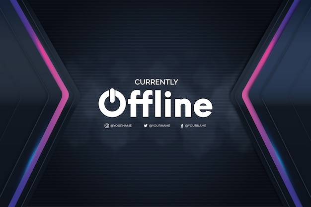 Offline twitch banner with 3d background