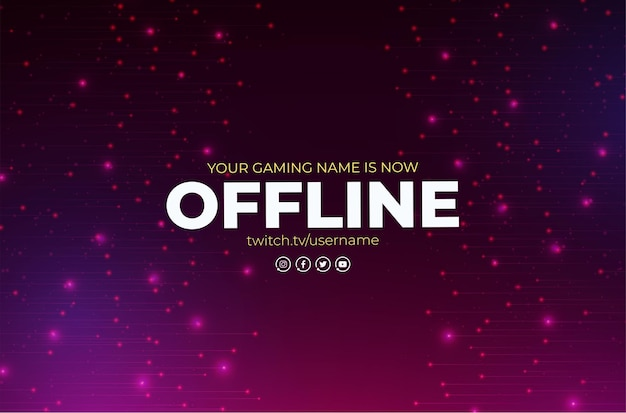 Offline twitch banner with abstract design template
