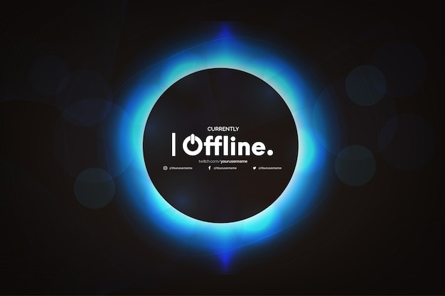 Offline twitch banner with abstract wave template