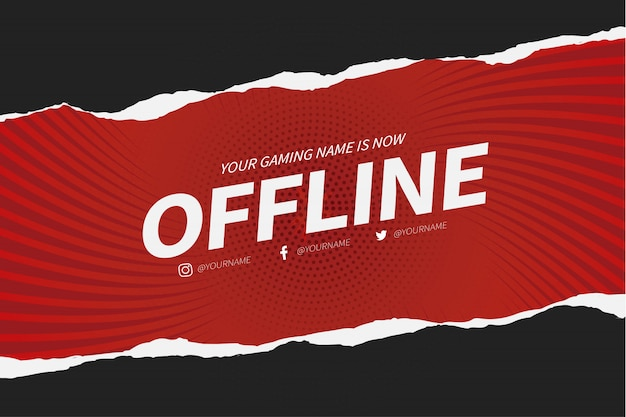 Offline twitch banner with paper cut design template