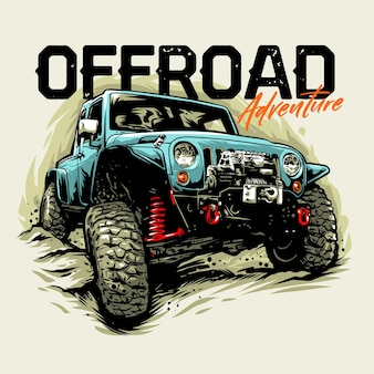 Offroad adventure car graphic illustration