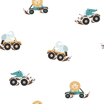 Offroad animals in cars in the mud seamless pattern cartoon characters elephant crocodile and lion