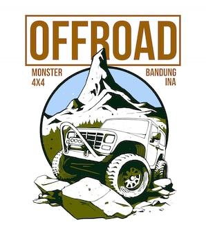 Offroad car design on illustration