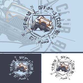 Tシャツに印刷するための背景にコンパスが付いたオフロード車のロゴ