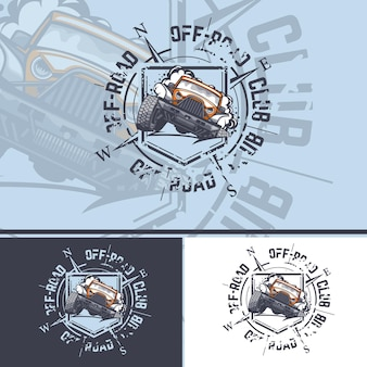 Offroad car logo with a compass on the background for printing on tshirts