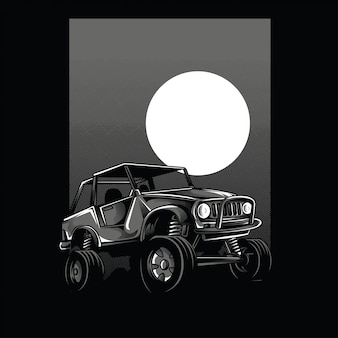 Offroad car moon view black and white illustration