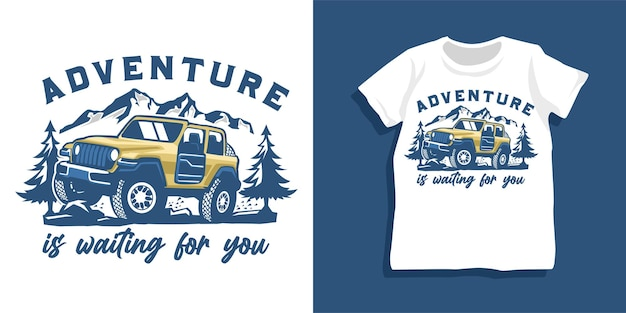 Offroad car and mountain tshirt design