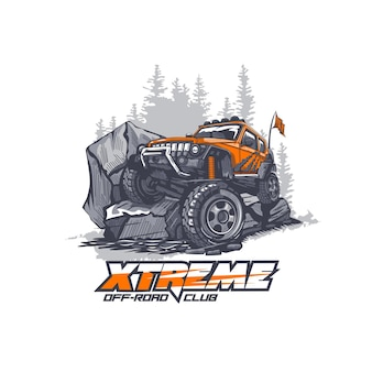 Offroad car overcomes extreme obstacles in the mountains illustration