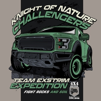 Offroad challenging nature, vector car illustrations