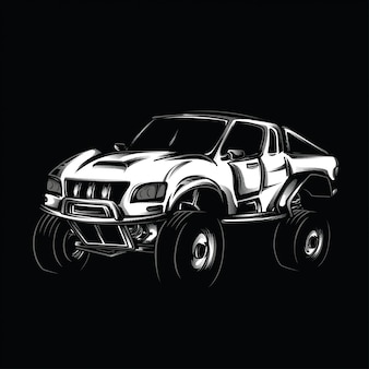 Offroad modification black and white illustration
