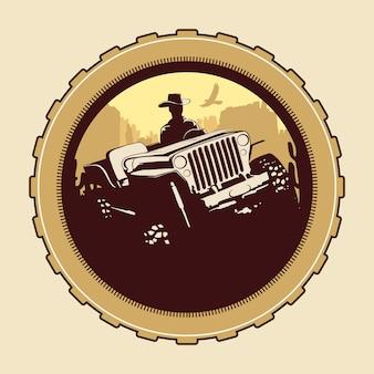 Offroad prairie theme cowboy riding jeep