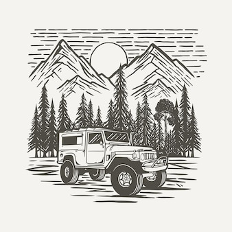 Offroad suv vehicle with forest and mountain background premium vector