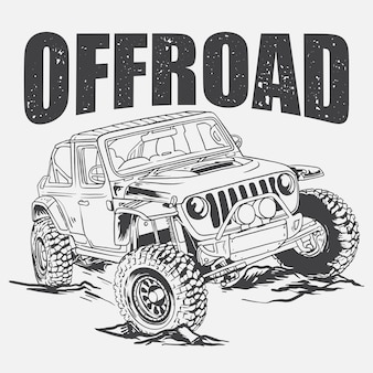 Offrod jeep illustration monochrome