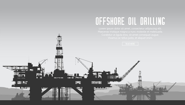 Offshore oil drilling rigs and tanker in the sea.