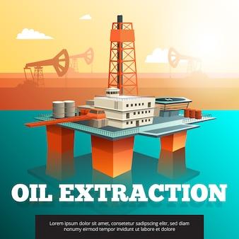 Нефтяная вышка морской платформы для бурения скважин, добычи и переработки нефти и природного газа изометрии