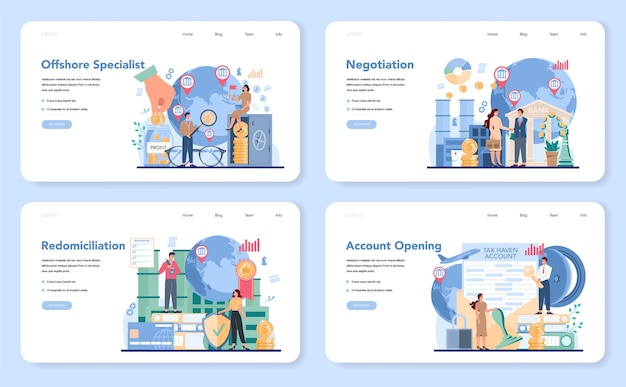 Offshore specialist web banner or landing page set
