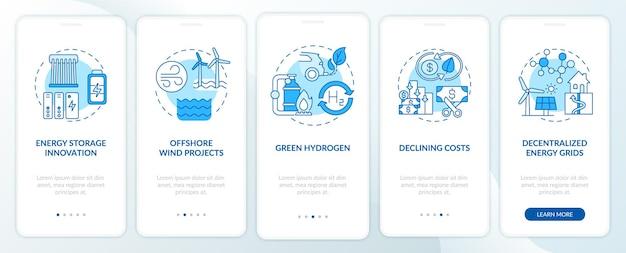 개념이있는 해상 풍력 프로젝트 온 보딩 모바일 앱 페이지 화면. 에너지 저장 혁신 워크 스루 단계. ui 템플릿 일러스트레이션