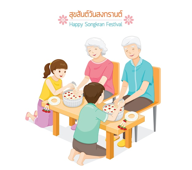 Offspring pouring water on hands of revered elders and ask for blessing tradition thai new year suk san wan songkran translate happy songkran festival