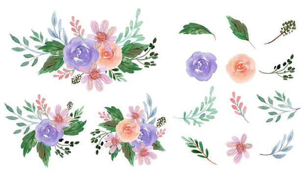 多くの場合、紫とピンクがかったバラの花の水彩画コレクション