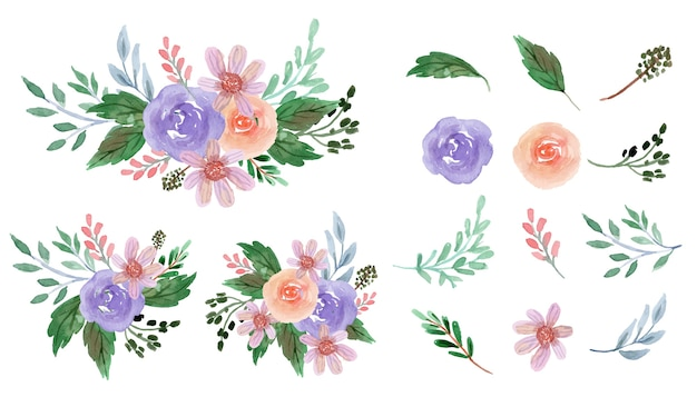 Oft purple and pinkish rose floral watercolor  collection