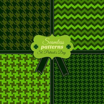 Безшовная картина моды установила og зеленые цвета в различных текстурах. празднование дня святого патрика.