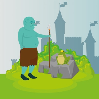 Ogre with spear in scene fairytale