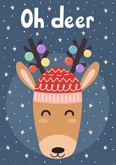 Oh deer christmas greeting card. vector illustration