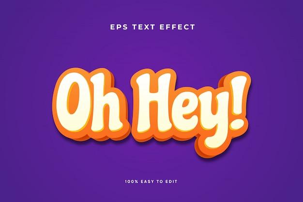 О, эй, оранжевый белый текстовый эффект