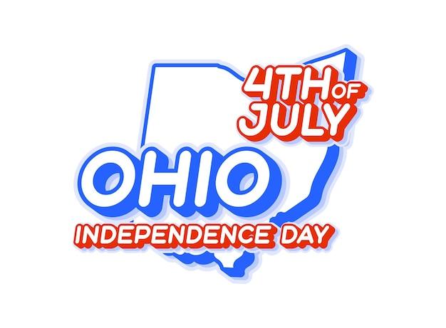 Штат огайо 4 июля в день независимости с картой и национальным цветом сша 3d-формой сша