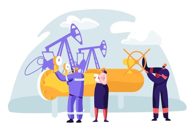 파이프 라인에서 작업하는 남자 캐릭터와 석유 및 가스 산업 개념. 여자 확인 품질 관리와 생산 라인 휘발유 정유에 oilman 노동자.