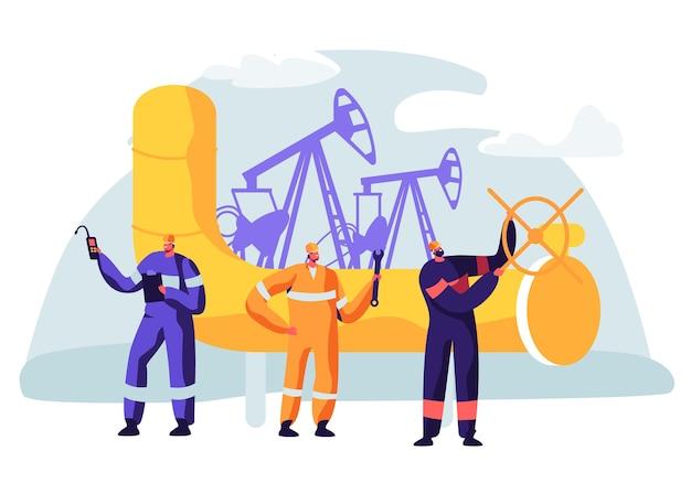파이프 라인에서 작업하는 남자 캐릭터와 석유 및 가스 산업 개념. 생산 라인 휘발유 정유에 oilman 노동자입니다.
