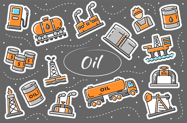 석유 및 가스 산업 - 스티커 세트입니다. 간단한 벡터 일러스트 레이 션.