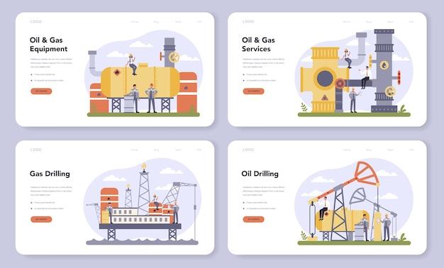 石油およびガス業界のwebバナーまたはランディングページセット。燃料工場、ディーゼル付きバレル。石油、ディーゼル燃料の産業探査。探査のための最新技術。