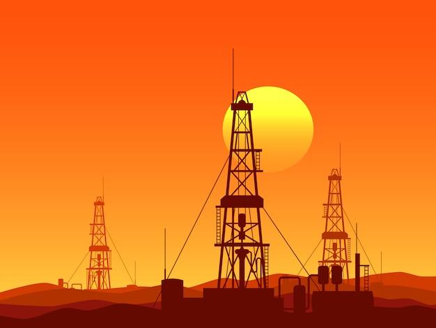 Нефтяные и газовые буровые установки векторная иллюстрация