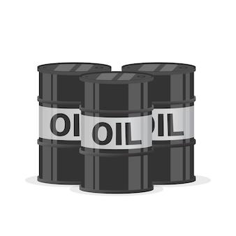 石油バレルドラム。 3つのスチールバレル Premiumベクター