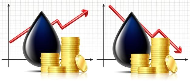 石油バレルの価格は、グラフィックと金貨のスタックを備えた石油のブラックドロップで上下します。石油のインフォグラフィック、価格上昇の概念。石油市場の動向。
