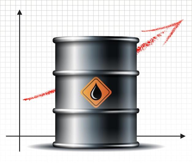 オイルバレルの値上がりチャートとブラックオイルドロップのあるブラックメタルオイルバレル。石油インフォグラフィック。石油市場のトレンド。