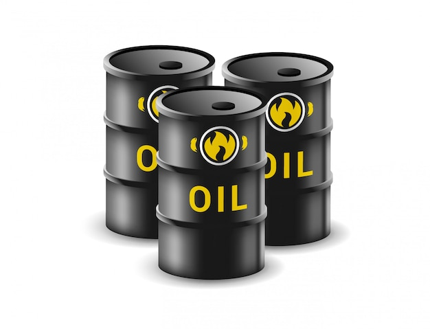 Oil barrel  on white background. canister for gasoline  illustration in realistic style. fuel storage